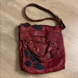 Beautiful Lucky Brand Cross Bag Burgundy Leather
